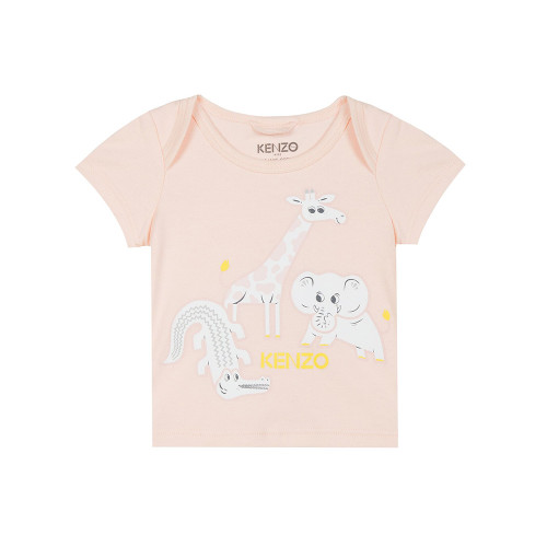 Light pink T-shirt for baby girls by luxury brand Kenzo Kids. It is made in soft cotton jersey with an envelope neckline and Mini Tiger and Friends print.
