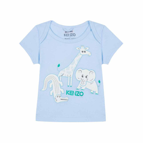 Light blue T-shirt for baby girls by luxury brand Kenzo Kids. It is made in soft cotton jersey with an envelope neckline and Mini Friends print.