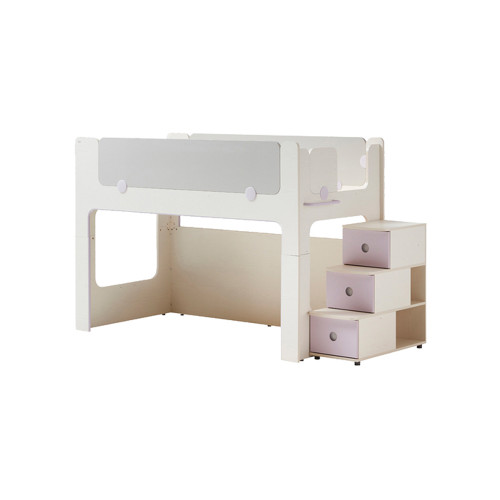 Iloom Cabin Bunk Bed Stairs Type Ivory and Purple
