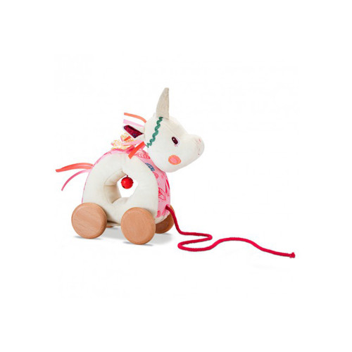 Louise the unicorn accompanies your child in his/her first steps. She shakes her head and rings her bell when your little one pulls on her rope.