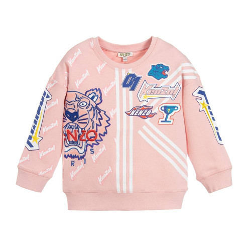 A pink cotton sweatshirt for girls by Kenzo Kids, made from soft mid-weight jersey. This cosy top has printed logos and a large embroidered Tiger on the front.