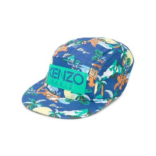 Boys blue cap by Kenzo Kids, made in cotton twill with a surfing Tiger signature logo print. There is a green logo patch on the front and an adjustable strap on the back.