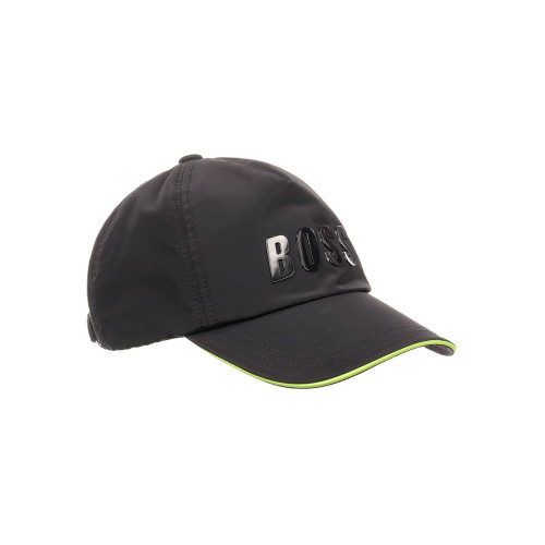 Stylish and versatile, this black logo cap by BOSS is made in a smooth nylon with a slight shine.