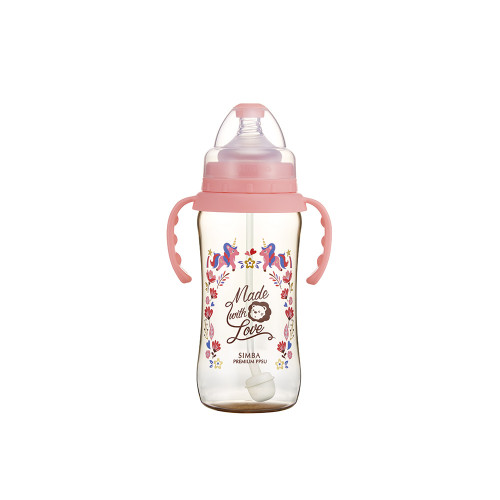 Simba Handle Wonderland PPSU Wide Neck Feeding Bottle(360ML) Pink