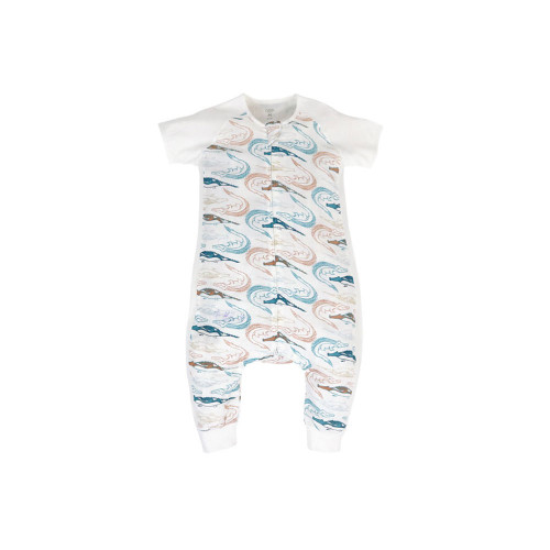 Once your little one has mastered the art of escaping their Sleep Sack, it's time to introduce them to the next stage of our wearable blanket system, the Sleep Suit. Comfortable jersey sleeves with luxuriously soft bamboo blended muslin, your little one will be able to sleep soundly without fear of overheating. Diaper changes are made easy with a 2-way zipper and snap button bottoms. Designed with harem style bottoms and stretchy side panels, baby can move with ease.