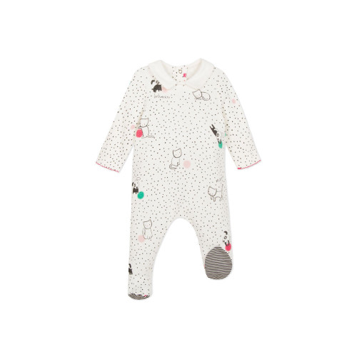 Graphic gentle stroll for cats and dogs on these all in one pyjamas for the youngest.
