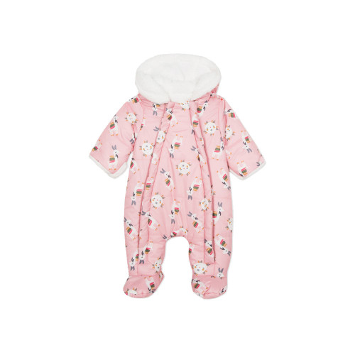 All in one style jacket in coated fabric with llamas and suns print on a marshmallow pink background for baby outings.