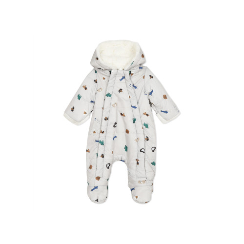 Integrated all-in-one baby suit-shaped bomber jacket in a coated fabric with a pictomania dogs and cats print, on a putty coloured background, for days out with little ones. Its super-soft, warm, furry white lining will keep your baby warm all winter long. Full hood with 3D ears. Cuffs with mitten-style fur turn-ups. Attached slippers. Practical fastening by means of a flap with 2 zips on the front. Elasticated ankles. Slightly padded. Catamini signature logo.