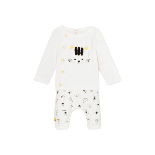 2-piece baby set: press stud T-shirt in snow white jersey with cat patch on pictomania dogs and cats fun print velvet trousers.