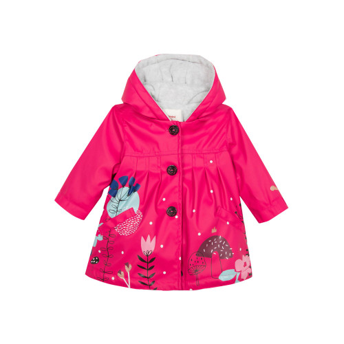 The iconic Catimini rubber raincoat, in the warm version lined with mottled micro-fleece.