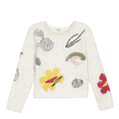 Pullover for girls in an urban ethno style, very soft and coloured with graphic embroidery and vibrant jacquard.