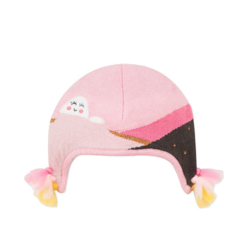 Wool warmed and lined with microfleece, the hat for girls is an escape in a simple jacquard landscape on a pink background.
