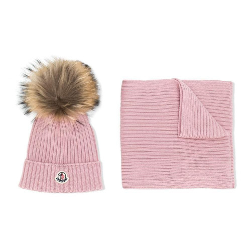 Pink wool cable knit hat and scarf set from Moncler Kids featuring faux fur details, an upturned brim, a ribbed design and a front logo patch.