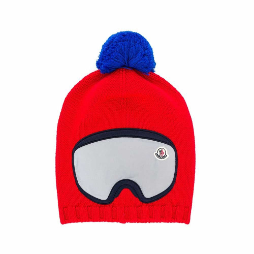 Red wool ski bobble hat from Moncler Kids. Featuring a ribbed hem and ski sunglasses detail to the front.