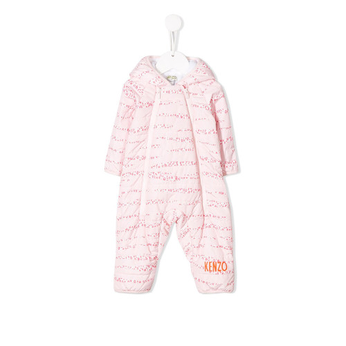 Cool kids will love the new Kenzo Kids collection. This pink logo print romper is the perfect example of that. Featuring a hood, a front zip fastening, long sleeves, an all-over print and logo to the front.