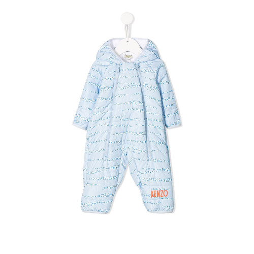 Blue leopard print snowsuit from Kenzo Kids. Featuring a hood, a printed logo to the front and front zip fastenings.