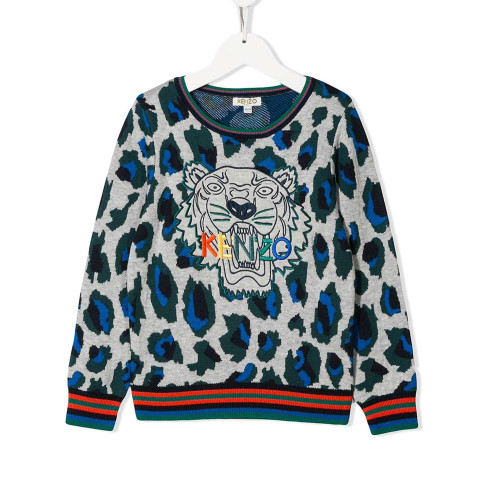 Grey wool and cotton blend tiger sweatshirt from Kenzo Kids. Featuring a ribbed crew neck, button fastenings at the shoulder, long sleeves, an embroidered designer logo to the chest, a ribbed hem and cuffs, an animal print and embroidered tiger at the chest.