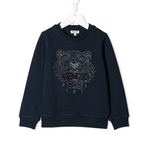 For those who like their clothing with a ferocious bite, look no further than this navy blue cotton TEEN tiger embroidery sweatshirt from Kenzo Kids.