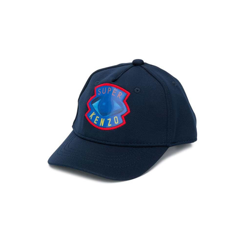 Expect lively prints and signature vibrant-hued dresses, T-shirts, sweats and accessories, such as this navy blue Super Kenzo cap. Featuring a curved peak, a printed logo to the front, a top button, eyelets and a touch strap fastening.