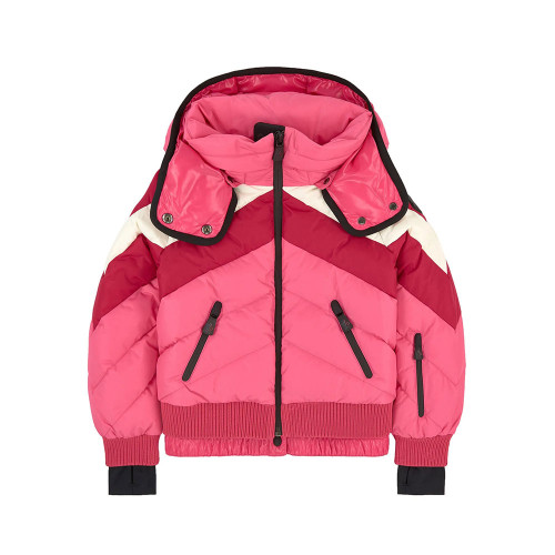 Waterproof cloth, Down and feather padding, Detachable hood, High collar, Long sleeves, Zip front pockets, Slits for the thumbs, Adjustable snow protection patches with a non-slip elastic strap and a snap button, Zipper on the front, Logo on the left sleeve