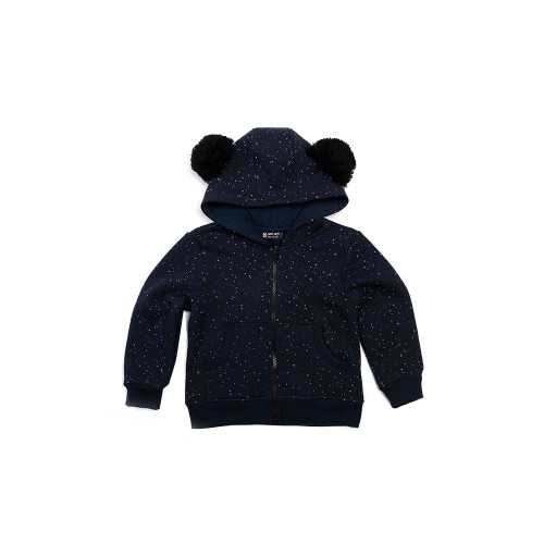 SPARKLE HOODIE is a lovely navy blue sweatshirt. Character is added by pompoms on the hood and original knitwear with irregular, colorful polka dots.