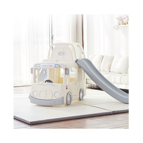 Toy car? Slide? Playroom? It is all in one! Vanilla 3 in 1 Bus slide toy for your little one!