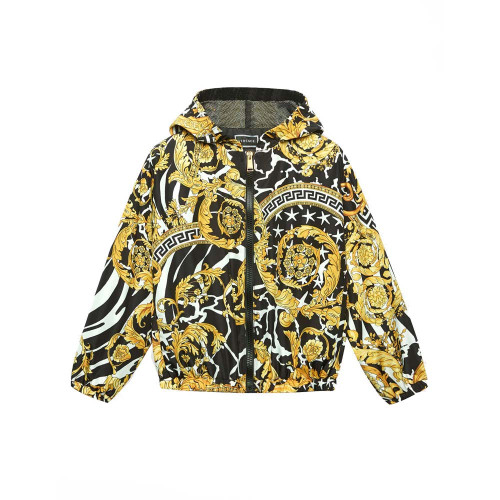 Black and yellow pattern print hooded jacket from YOUNG VERSACE featuring a hood with drawstring tie fastenings, a front zip fastening, two front pockets, long ribbed sleeves, a relaxed fit and a classic Versace print.