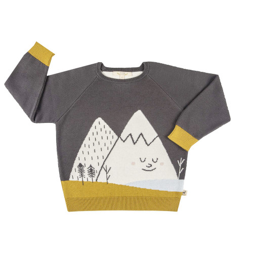 Red Caribou Faces knitted sweater Mysterious mountain - Turkish coffee 4Y