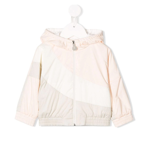 Pink and neutral cotton blend panelled hooded rain jacket from Moncler Kids featuring a hood, a front zip fastening, long sleeves, an elasticated hem, elasticated cuffs and a panelled colour block design.