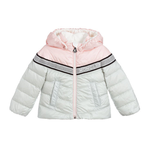 Grey cotton glitter logo padded jacket from Moncler Kids featuring padded, a front zip fastening, a hood, long sleeves, side pockets and a short length.