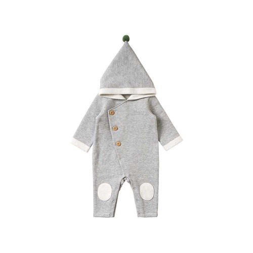 The pointed hood is a coverall with a brushed back.