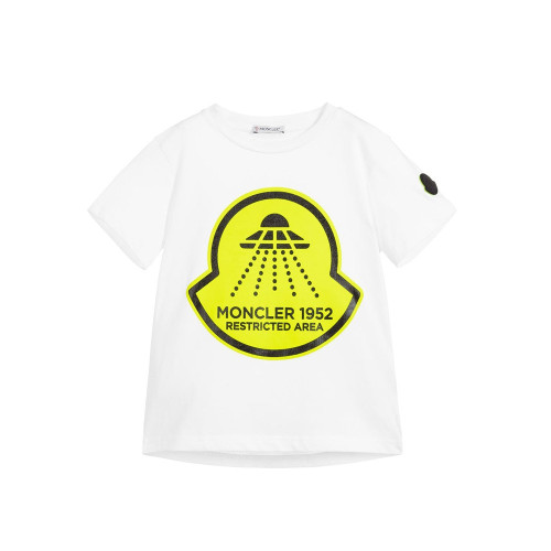 White T-shirt for boys by Moncler Enfant, made in soft cotton jersey. It has a bright yellow UFO print and a rubberised logo badge on one sleeve.