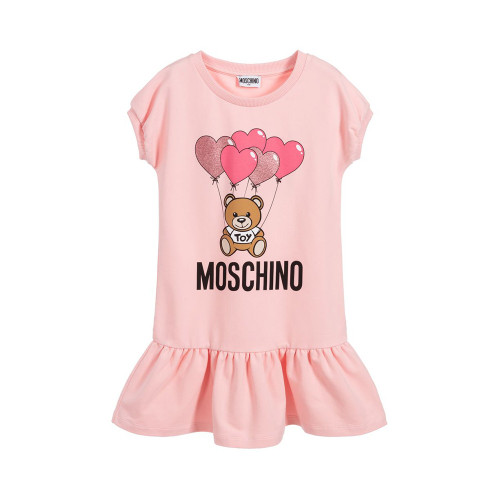 Pink dress for girls byMoschino Kid-Teen,made in comfortable, sweatshirt cotton jersey. It has a bold black logo on the front with the brand's signature beige teddy bear and glittery pink balloons.The neckline and seamless sleeves have ribbed trims. Easy to wear, it simply slips on over the head.