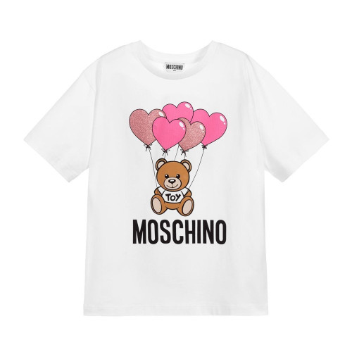 White T-shirt for girls byMoschino Kid-Teen, made in comfortable cotton jersey. It has a bold black logo printed on the front with the brand's signature beige teddy bear and glittery pink balloons. It has a wide, boxy fit, deep sleeves and a ribbed collar.
