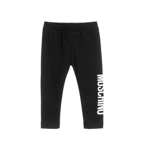 Younger girls black long leggings fromMoschino Baby, made in soft and stretchy cotton jersey. They have a white logo print on one leg and an elasticated waistband.