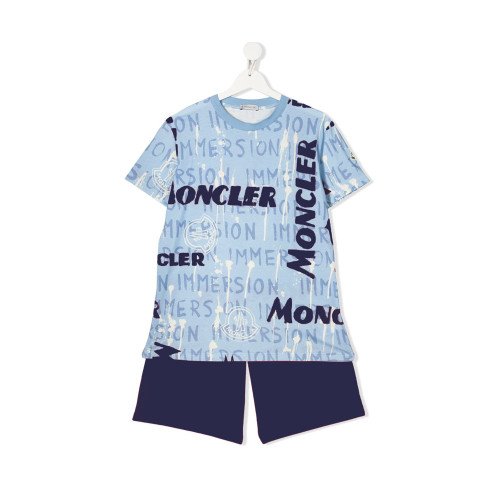 Blue, navy and white cotton TEEN two piece set from Moncler Kids featuring a T-shirt with an all-over print, a round neck, short sleeves and a straight hem, and shorts with an elasticated waistband and a short length.