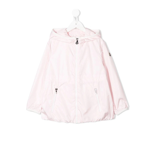 Sugar pink hooded rain jacket from Moncler Kids featuring a front zip fastening, front zipped pockets, long sleeves and a logo patch at the sleeve.