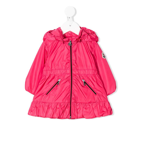 Fuchsia pink ruffled hooded parka from Moncler Kids featuring a contrast embroidered logo at the chest, a hood, a front zip fastening, long sleeves, side zipped pockets and a ruffled hem.