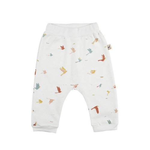 Red Caribou Baggy Pants Tropical birds Eco-White