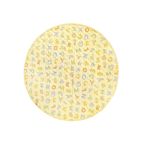 A large format circular play mat with colorful alphabet prints. Can be washed in a washing machine.