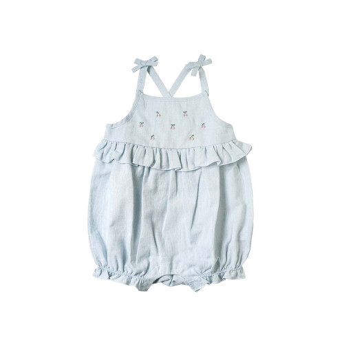 Summer rompers with adorable motifs. Made from cotton linen with a gentle color, we created a cool romper that is perfect for summer.
