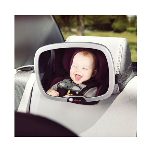 adjustable back seat mirror with remote-controlled LED light.