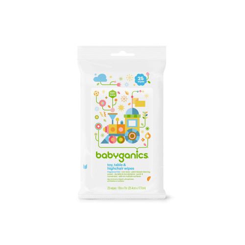 Babyganics Toy Table & High Chair Wipes 25ct