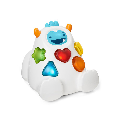 Our interactive Yeti talks, spins and more as baby explores. As baby learns and grows, it switches to a shape sorter and game mode—with rewarding lights, music, phrases and giggles.