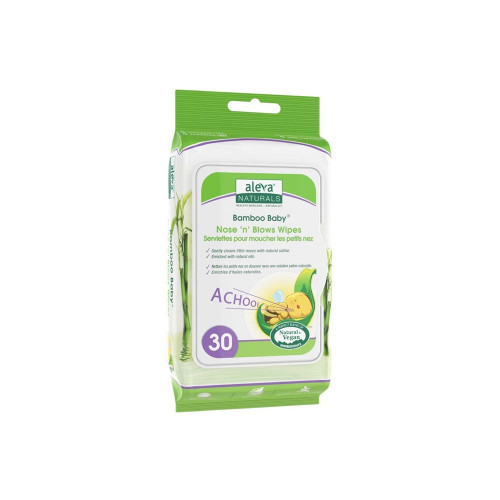 Aleva Naturals® Bamboo Baby® Nose 'n' Blows Wipes include all the benefits of the Soothing Comfort Chest Rub, infused into a Bamboo Baby® Wipe. With packaging that is sleek to fit in a diaper bag or purse, these wipes are ideal for use while on-the-go