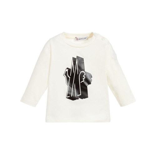 This white and black logo print jersey top is crafted from a cotton blend and features a round neck, long sleeves, a relaxed fit, a chest print and a snap button fastening to the shoulder.