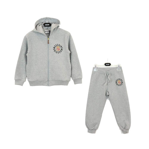 Moschino 2 PCS Hooded Zip Up Track Set With Logo Bear