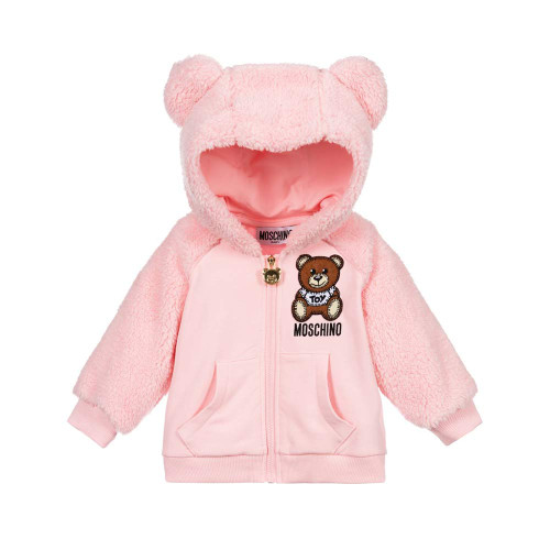 Moschino ZIP UP HOODED SWEATSHIRT WITH FUZZY ARMS AND HOOD ROSE