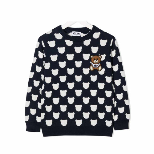 Moschino Sweater With Allover Cloud Bear Print