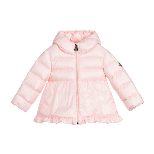 Pale pink coat for little girls by Moncler Enfant, made in silky smooth nylon. It has a fixed hood, front zip fastening and luxurious soft down padding for comfort and warmth.